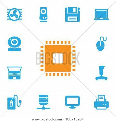 Set Of 13 Computer Icons Set.Collection Of Supply, Peripheral, Datacenter And Other Elements.