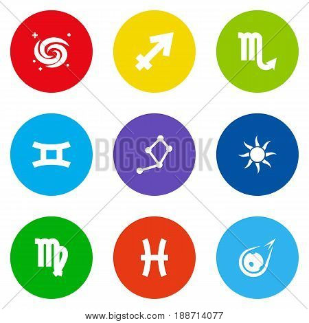 Set Of 9 Astrology Icons Set.Collection Of Archer, Comet, Space And Other Elements.