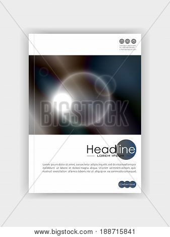 Book design template with futuristic circles with dark blue metal colours background. Vector. Good for engineering annual report conference journal book banner flyer business report.