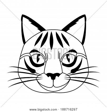 cute head cat, feline striped character. vector illustration.