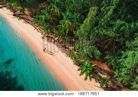 Aerial view of tropical island beach Dominican Republic