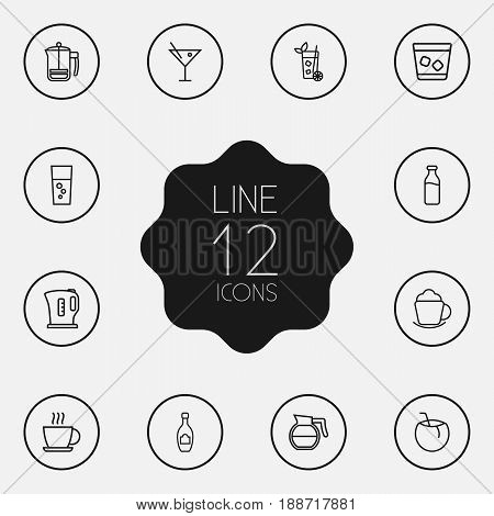 Set Of 12 Drinks Outline Icons Set.Collection Of Lime, Cocos, Fizzy Water And Other Elements.
