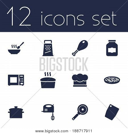Set Of 12 Kitchen Icons Set.Collection Of Blender, Poultry Foot, Cutting Surface And Other Elements.