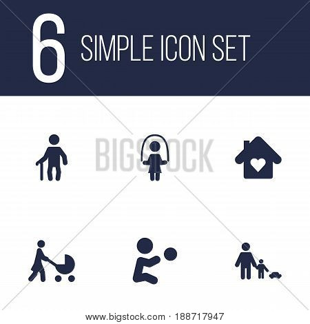 Set Of 6 Relatives Icons Set.Collection Of Perambulator, House, Grandpa Elements.
