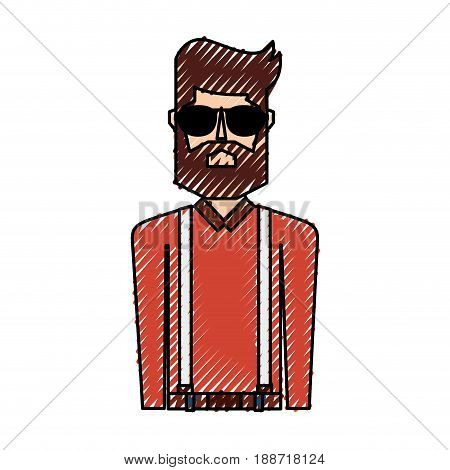 scribble upper body man cartoon vector graphic design