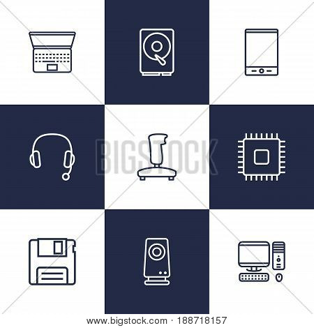 Set Of 9 Laptop Outline Icons Set.Collection Of PC, Hdd, Laptop And Other Elements.