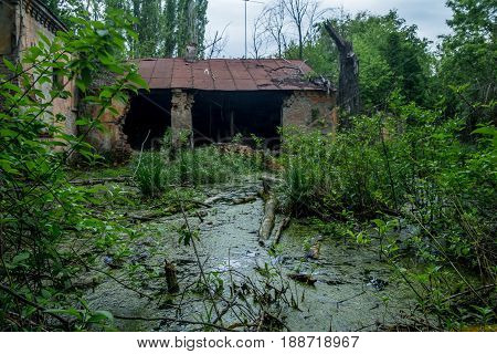 Old flooded overgrown ruined abandoned forsaken building after the flood disaster