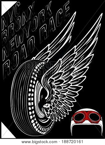 Motorcycle label t-shirt design with illustration of custom chopper fashion new style