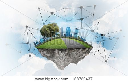 Beautiful small island with grass and cityscape levitating in the sky