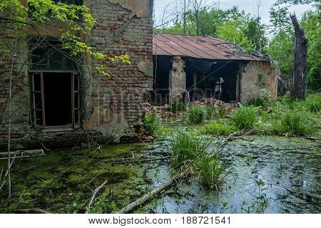Old flooded overgrown ruined abandoned forsaken building among bog after the flood disaster several years ago
