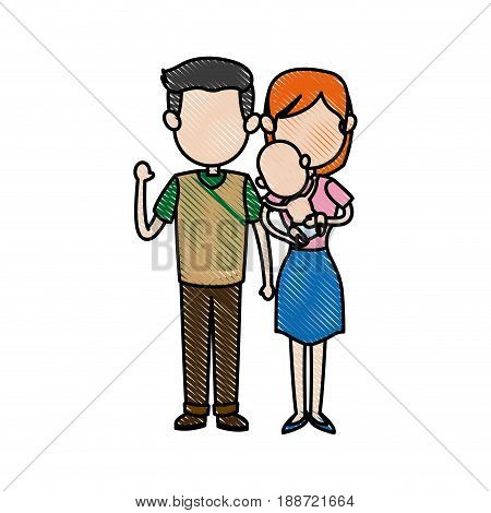 cute couple dad and mum with her baby vector illustration