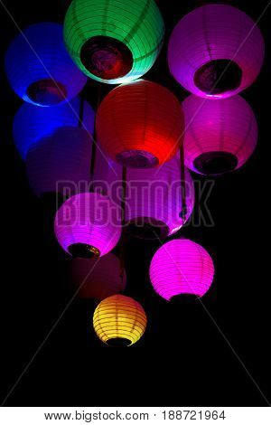 Group Of Colored Paper Lanterns