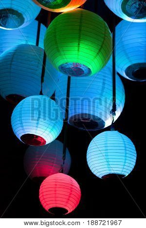 Chinese Paper Lanterns On A Black Background