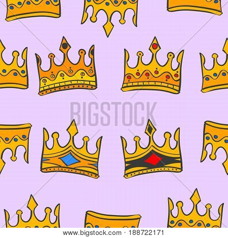 Gold crown glamour pattern vector art collection stock