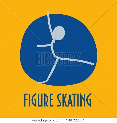 Winter sports stick figure icon: Figure skating. Great as Figure skating icon or symbol for materials.