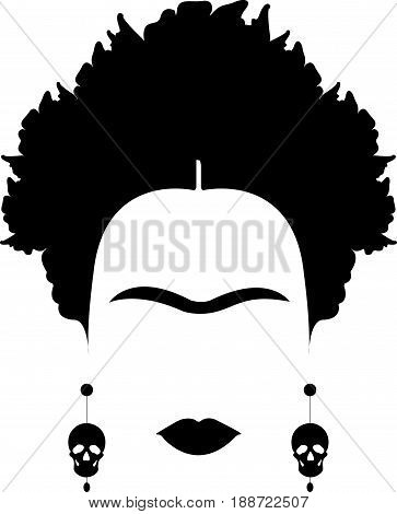portrait of Mexican or Spanish woman minimalist Frida Kahlo with earrings skulls, vector isolated
