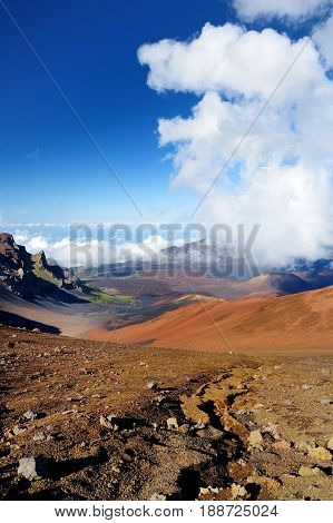 Stunning Landscape Of Haleakala Volcano Crater Seen From The Sliding Sands Trail, Maui, Hawaii
