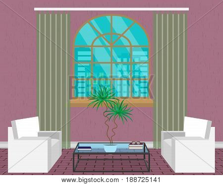 Modern living room interior design. Light loft with sofas, window, transparent glass table and houseplant. Contemporary household concept. Vector illustration.