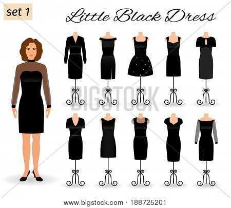 Fashion woman character in little black dress. Set of cocktail dresses on a mannequins. Flat vector illustration.