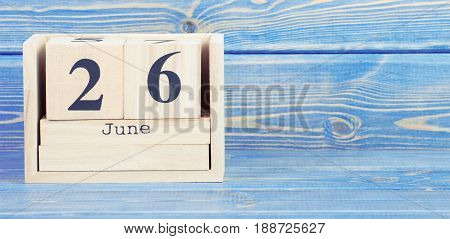 Vintage Photo, June 26Th. Date Of 26 June On Wooden Cube Calendar