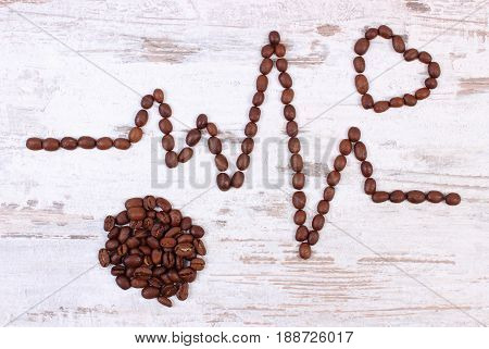 Cardiogram Line Of Roasted Coffee Grains, Concept Of Medicine And Healthcare