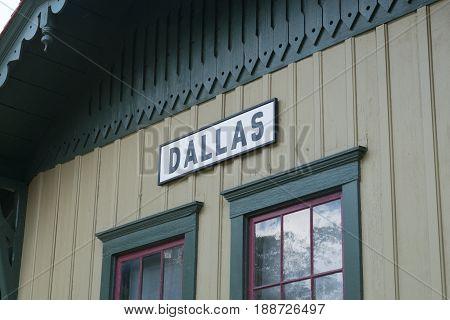 Old Fashioned Dallas train station depot sign