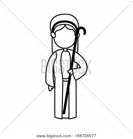 cartoon shepherb manger people with cane wooden, outline vector illustration