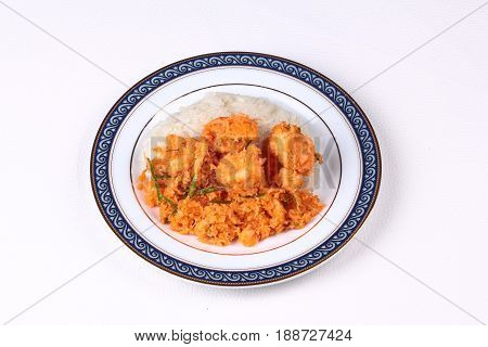 Sticky Rice With Stir-fried Grated Coconut,shrimp