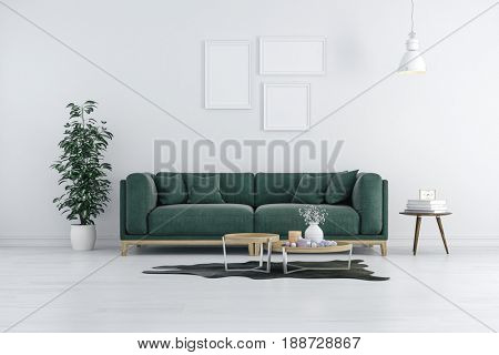 3d render of beautiful interior with green sofa and white walls