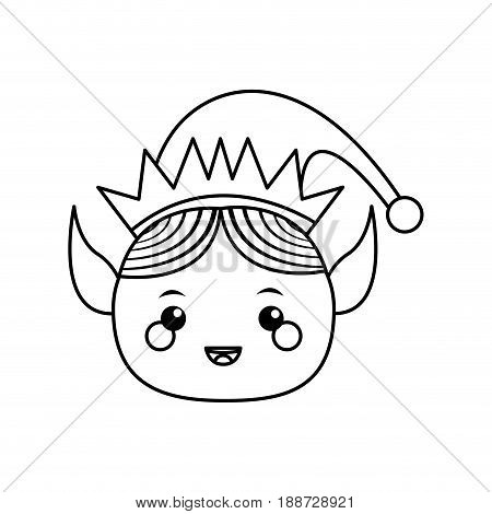 elf helper santa christmas celebration, outline icon vector illustartion