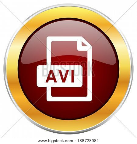 Avi file red web icon with golden border isolated on white background. Round glossy button.