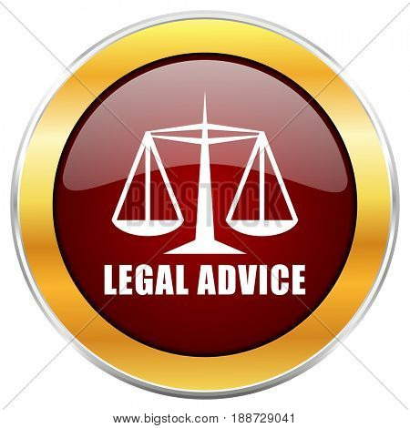 Legal advice red web icon with golden border isolated on white background. Round glossy button.
