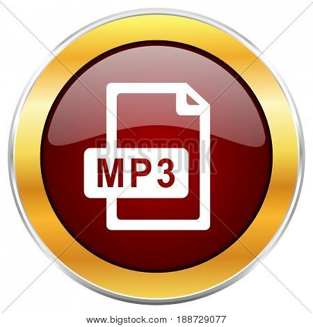 Mp3 file red web icon with golden border isolated on white background. Round glossy button.
