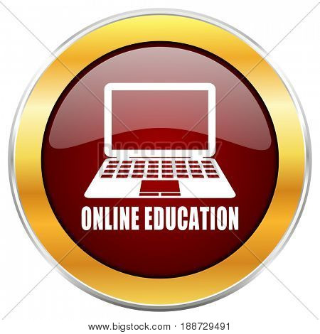 Online education red web icon with golden border isolated on white background. Round glossy button.