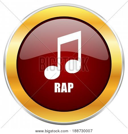 Rap music red web icon with golden border isolated on white background. Round glossy button.
