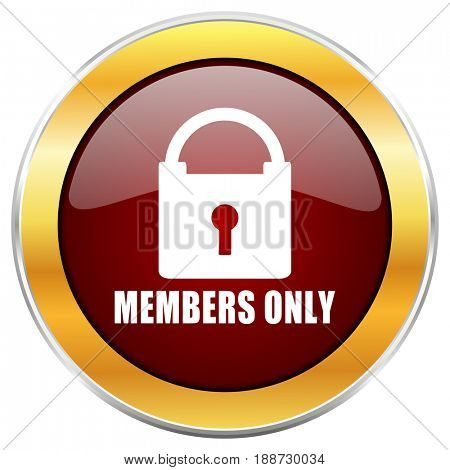 Members only red web icon with golden border isolated on white background. Round glossy button.
