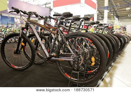 Bicycle exhibition in showroom