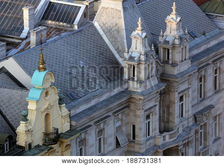 ZAGREB, CROATIA - MAY 31: Facade of the old city buildings on Ban Jelacic Square in Zagreb, Croatia on May 31, 2015