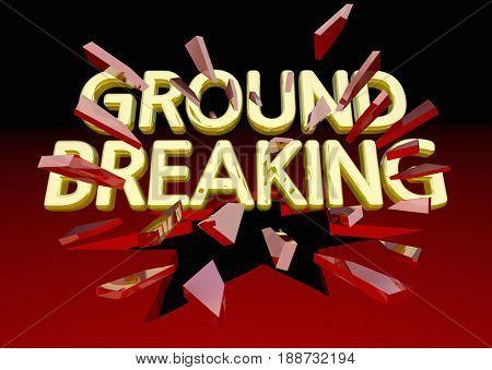 Ground Breaking Glass Shattering Words Big News 3d Illustration poster