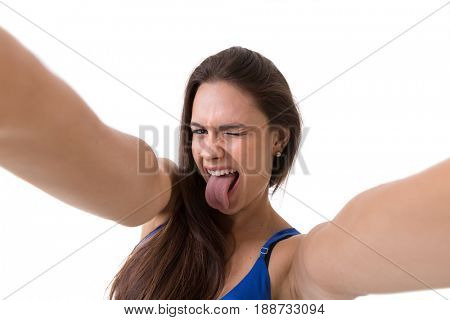 Latina brunette woman taking selfie photos