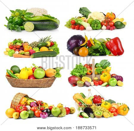 Collage of vegetables and fruits on white background