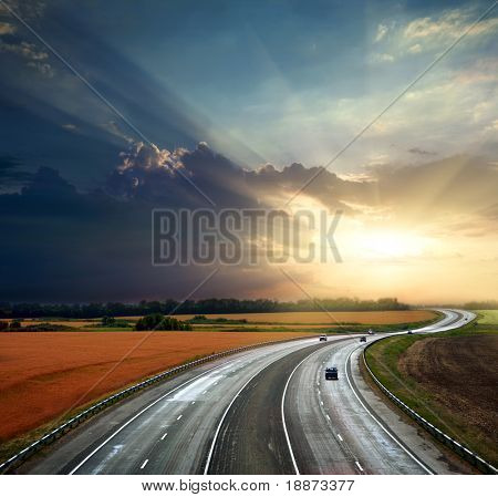 High-speed highway against the blue sky