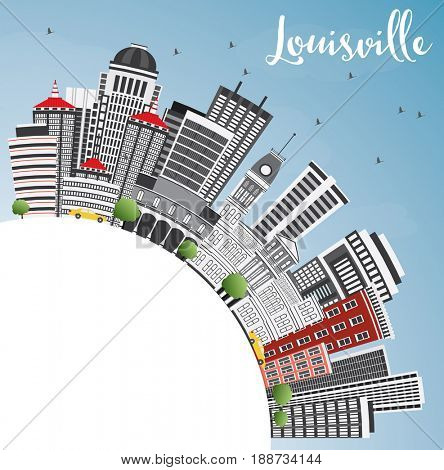 Louisville Skyline with Gray Buildings, Blue Sky and Copy Space. Business Travel and Tourism Concept with Modern Architecture. Image for Presentation Banner Placard and Web Site.