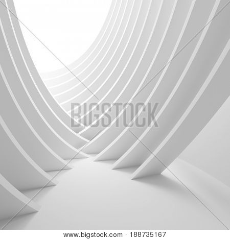 White Architecture Geometric Wallpaper. Abstract Interior Design. 3d Architecture Rendering. Futuristic Building Construction