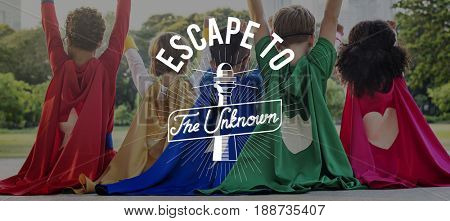 Escape to The Unknow Travel Explore Word Graphic