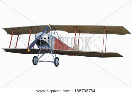 retro vintage airplane. Plane isolated on white background.  airplane in flight. nobody