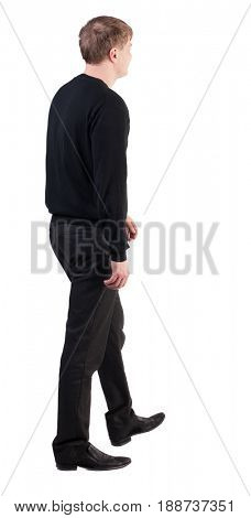 back view of walking  business man. going young guy in red shirt.  Isolated over white background. Rear view people collection.  backside view of person.  dull office worker goes from left to right