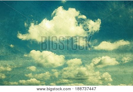 clouds in vintage style. sky with clouds Stylized under the old photographs.