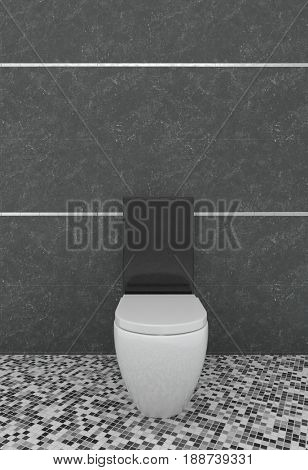 Modern minimalist toilet or bathroom interior with a simple white water closet against a dark grey wall with pattern mosaic floor in 3d rendering