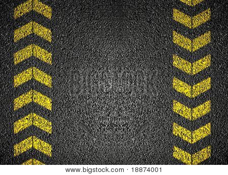 Asphalt Background with danger signs